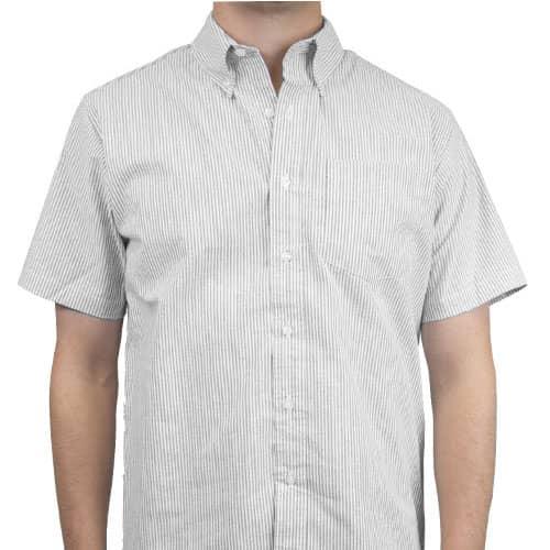 Camisa Oxford Mil Rayas Manga Corta para Hombre