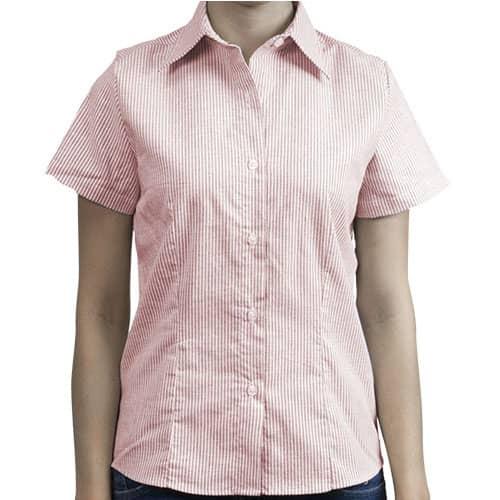 D0602 Camisa Oxford  Mil Rayas Manga Corta Para  Mujer