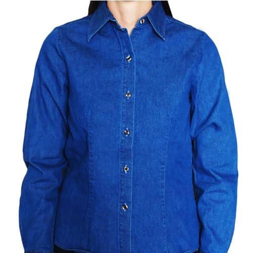 Camisa de Mezclilla Manga Larga Para Mujer